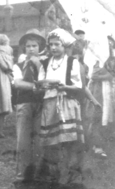 Joan Brear & Joan Worth in Fancy Dress VE Day 1945