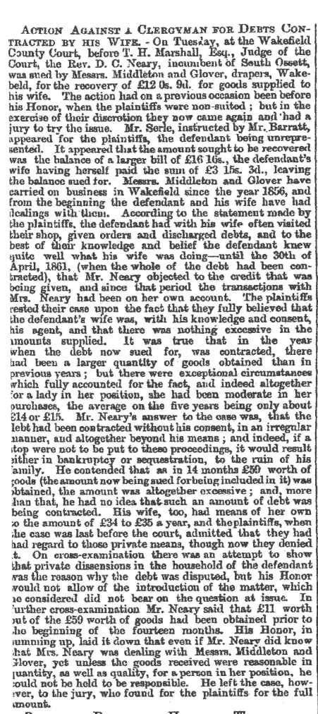 Neary Debts article Leeds ~Mercury 1862