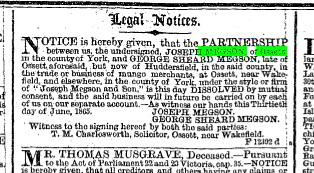 Megson patnershhip dissolved 1865