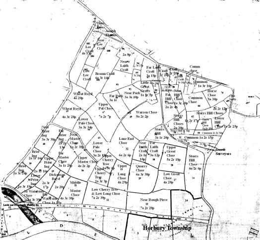 1843 Healey to Denton Lane Plot names & sizes