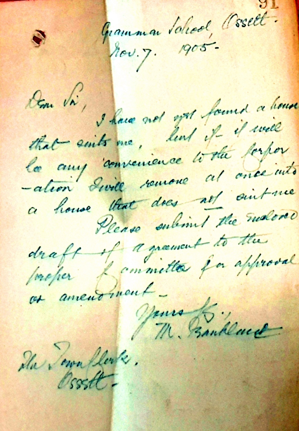 Letter re headmasters house 11.35.00