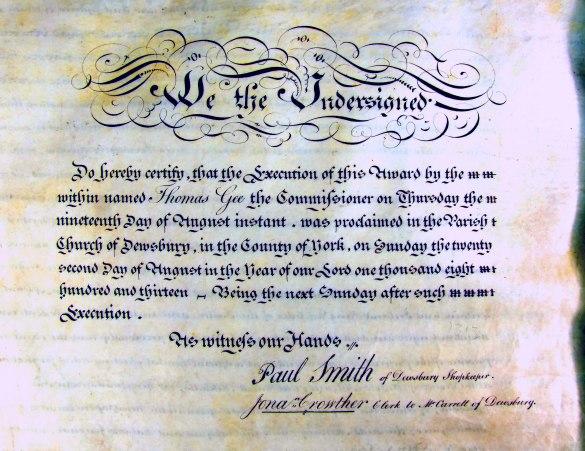 Ossett Inclosure Certificate